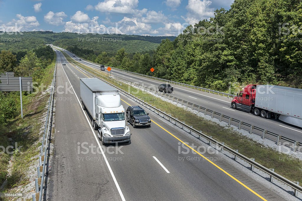 Interstate Highway Traffic On A Summer Afternoon royalty-free stock photo