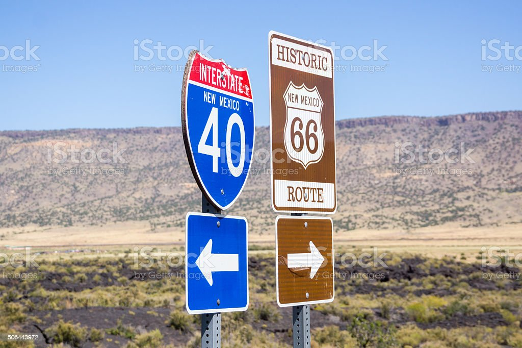 Interstate I40 and Route 66 combined sign New Mexico, USA. stock photo