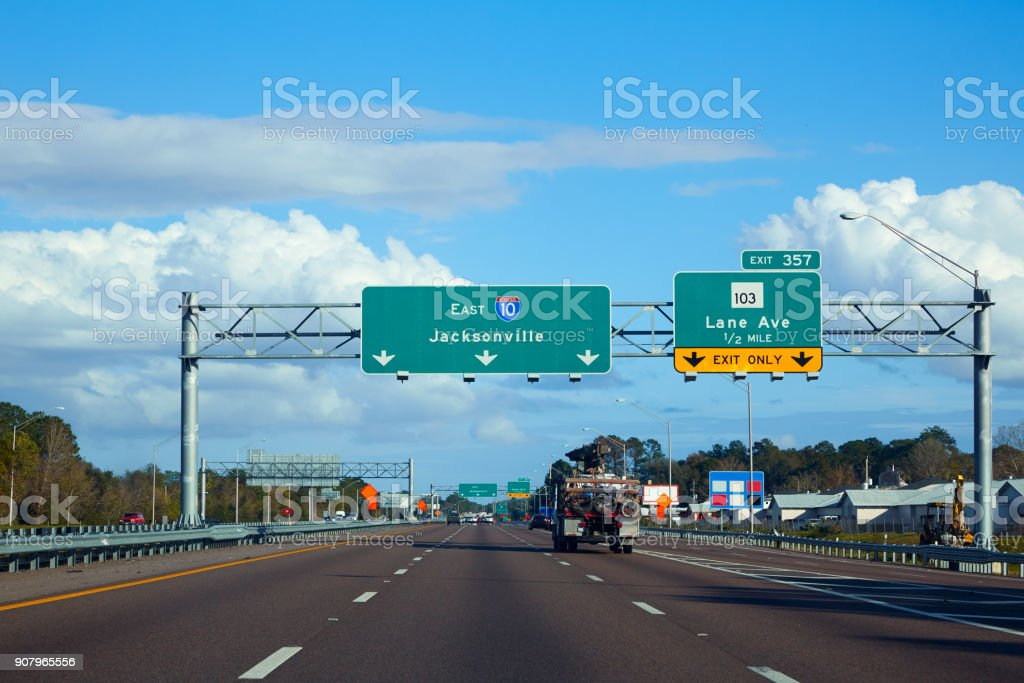 I-10 interstate in Jacksonville Florida USA stock photo