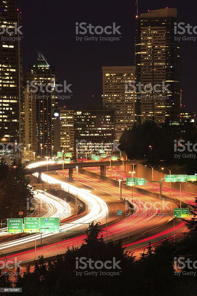 Interstate passing through Seattle royalty-free stock photo