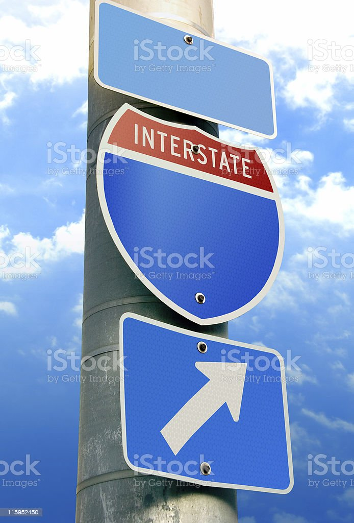 USA Interstate Road Sign: Copy Space stock photo