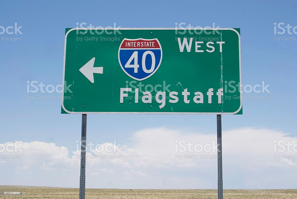 interstate road sign stock photo