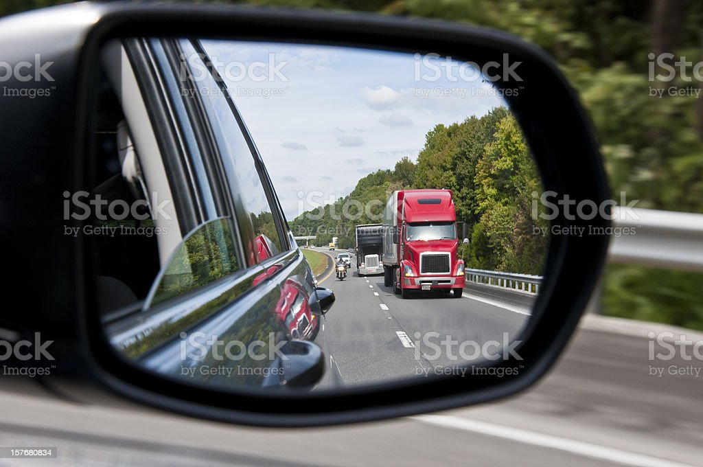 Interstate Traffic in The Rear View Mirror stock photo