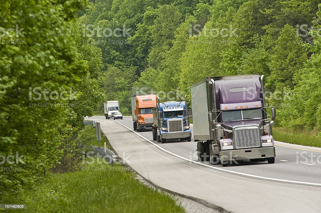 Interstate Traffic With Trucks royalty-free stock photo