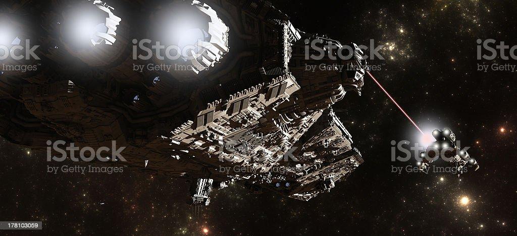 Interstellar Battleship Chase stock photo