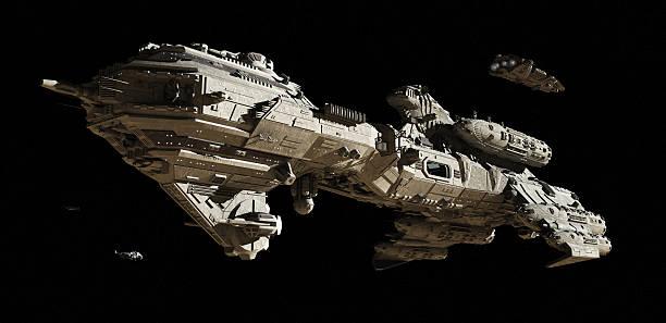 interstellar escorte frégate - vaisseau spatial photos et images de collection