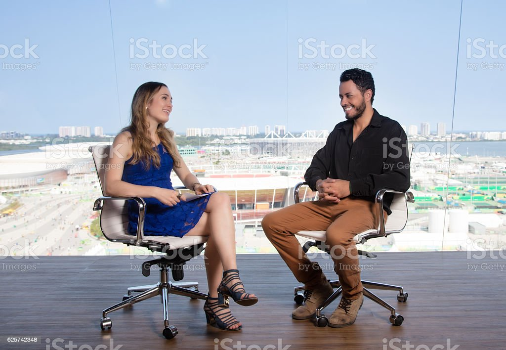Interview in a television studio stock photo