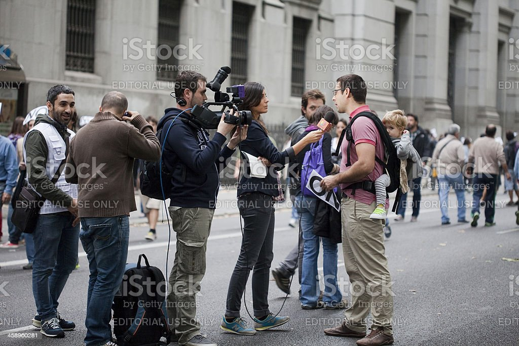 Interview in the street stock photo
