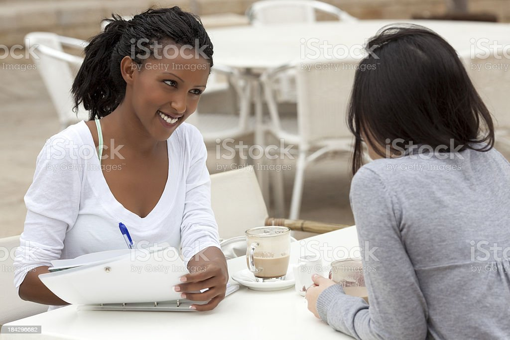 Interview meeting at cafe. royalty-free stock photo