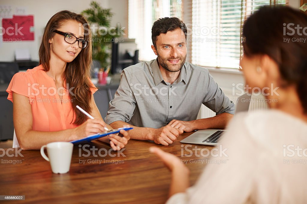 Interview new employee for company stock photo