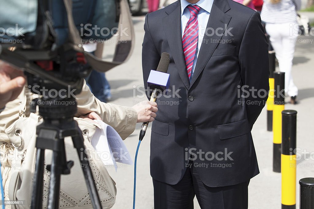 TV interview royalty-free stock photo