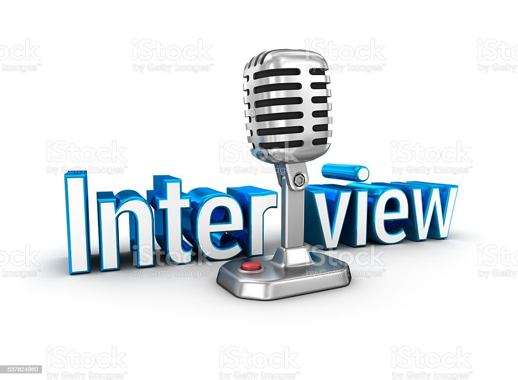 Interview text and microphone, 3d Concept stock photo
