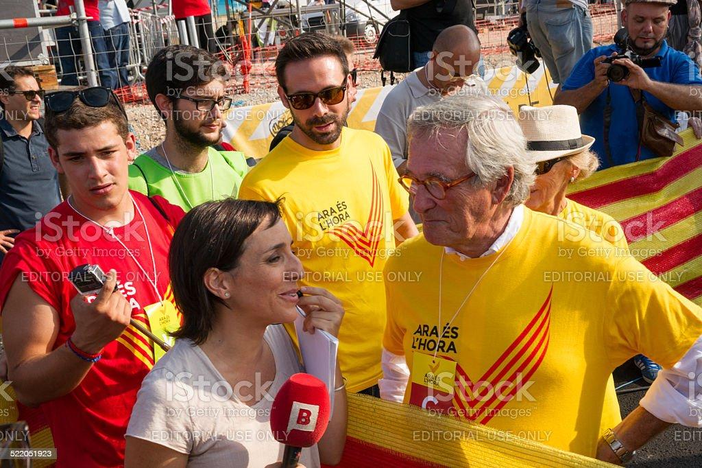 Interview der Bürgermeister von Barcelona Xavier Trias Lizenzfreies stock-foto