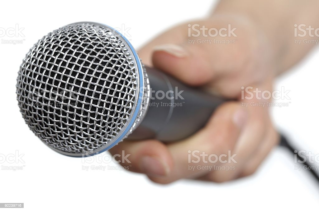 Interview with microphone royalty-free stock photo