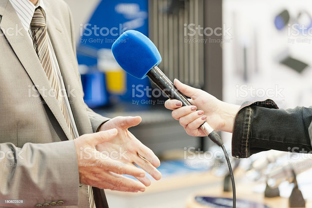 Interview with VIP person stock photo