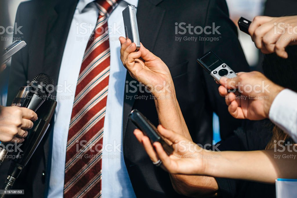 Interviewing politician stock photo