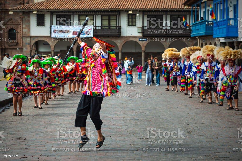 Inti Raymi Sun Festival Dancer In Cusco Stock Photo