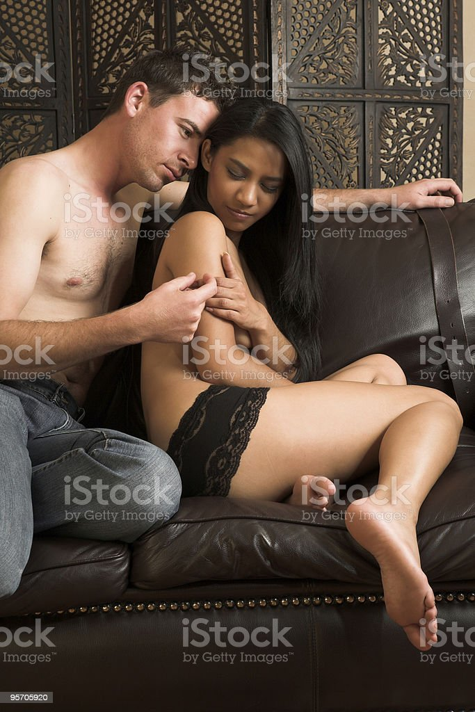 Intimate lovers embrace royalty-free stock photo
