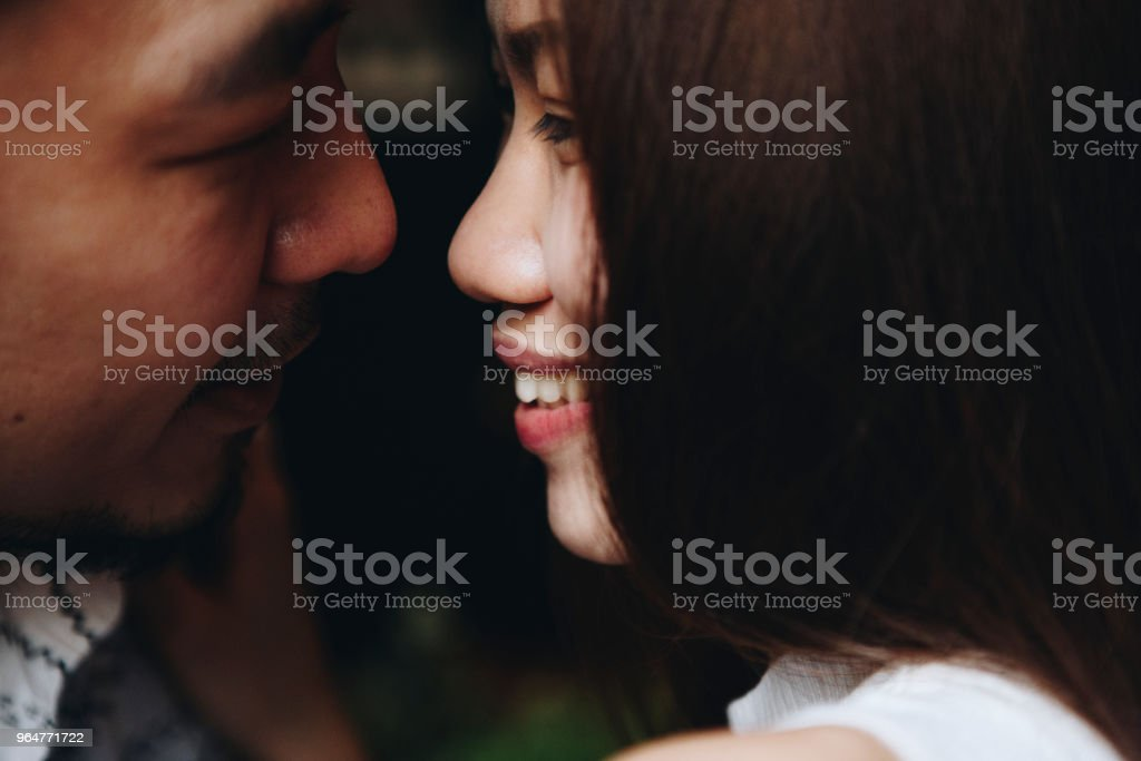 Intimate romantic sweet asian couple royalty-free stock photo