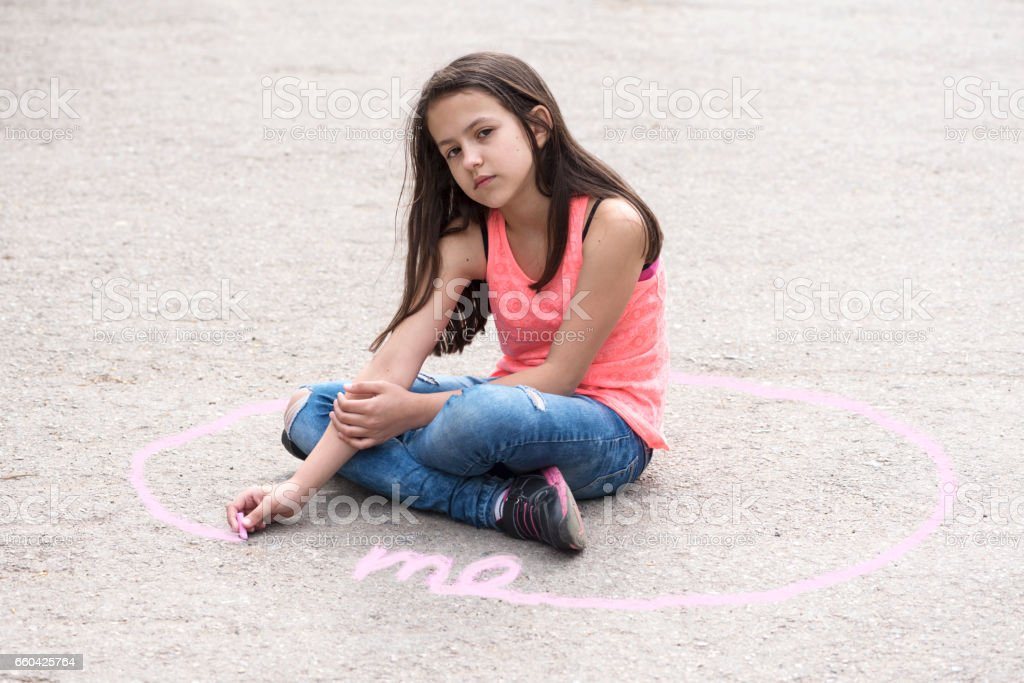 Intimate zone and body language with preteen girl stock photo