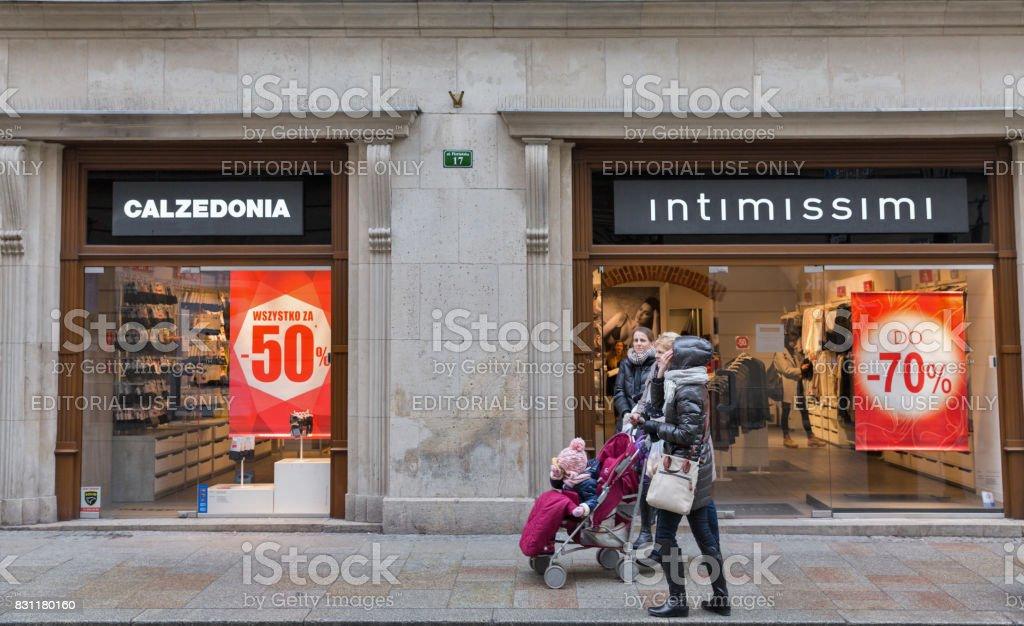 Intimissimi Calzedonia store in Krakow Old Town, Poland. stock photo
