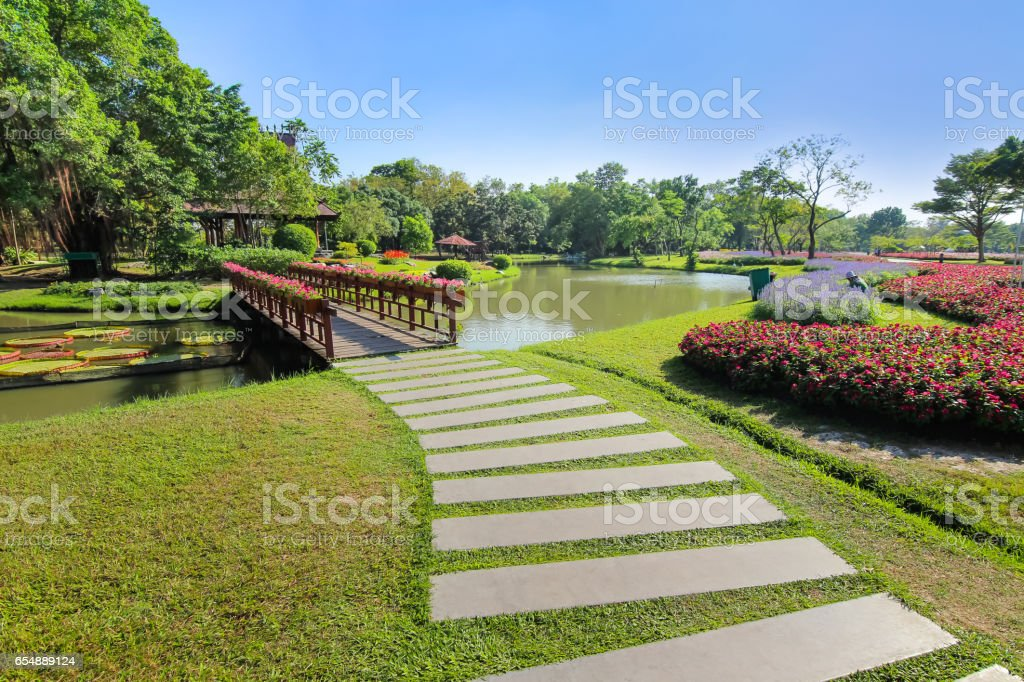 Into the garden, beautiful scenic stock photo