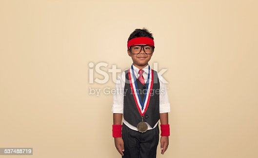 istock Intra Office Champion Boy with Gold Medal 537488719