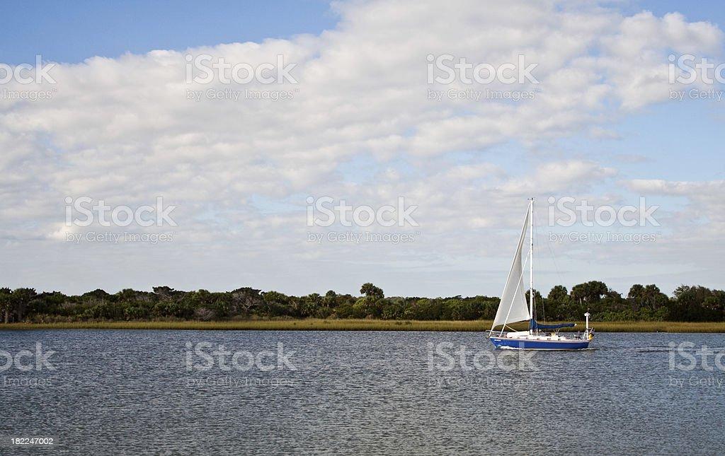Intracoastal Sailboat stock photo