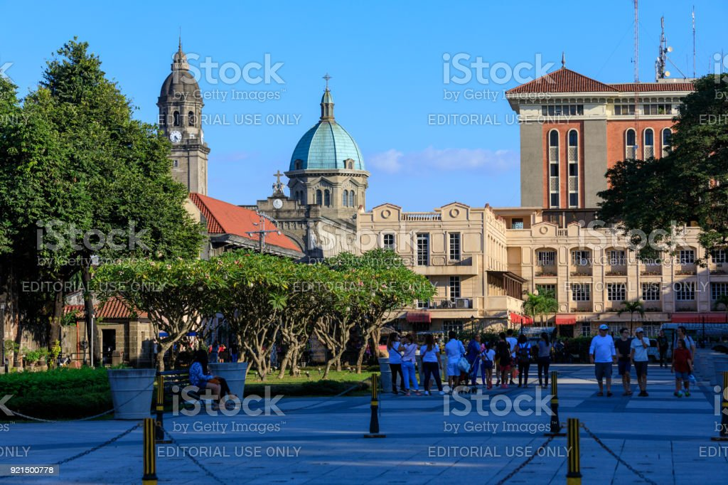 Intramuros district building view from Spanish colonial Fort Santiago in Manila, Philippines stock photo