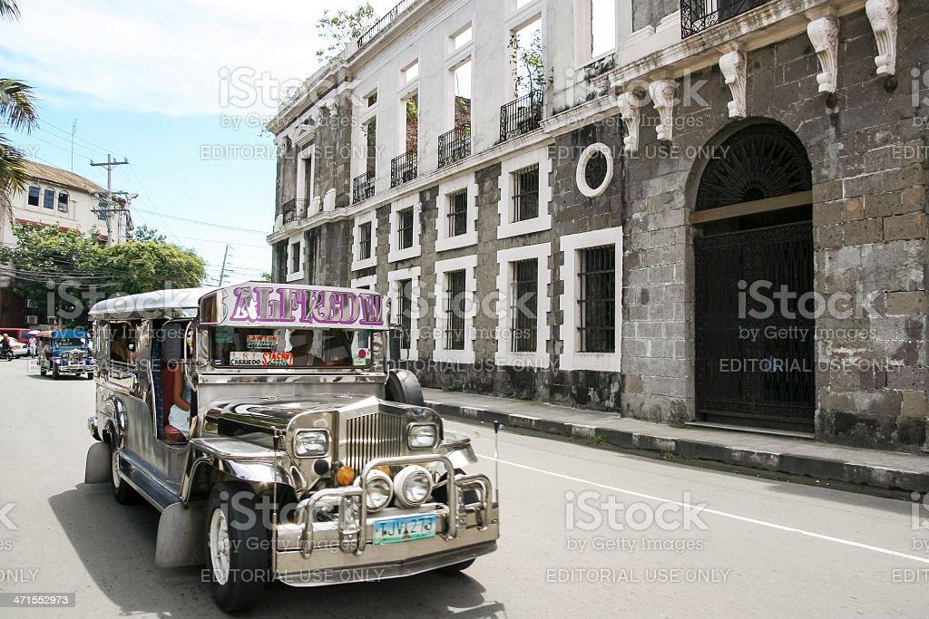 intramuros jeepney manila city street philippines stock photo