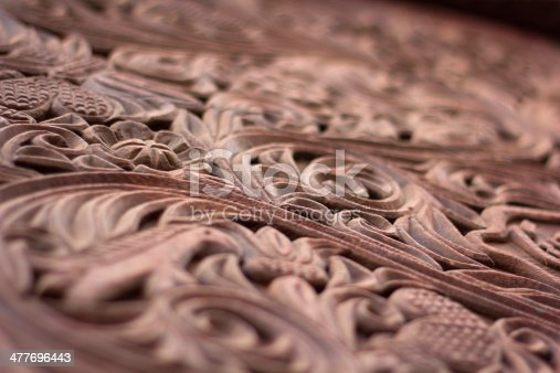 Close up of the intricate wood carving traditional to the Swahili coast of Africa, often used in door frames. Shallow depth of field.