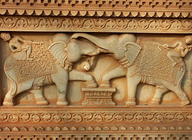 Intricate carvings on royal cenotaph of Kshar Bagh, Bundi,Rajasthan stock photo