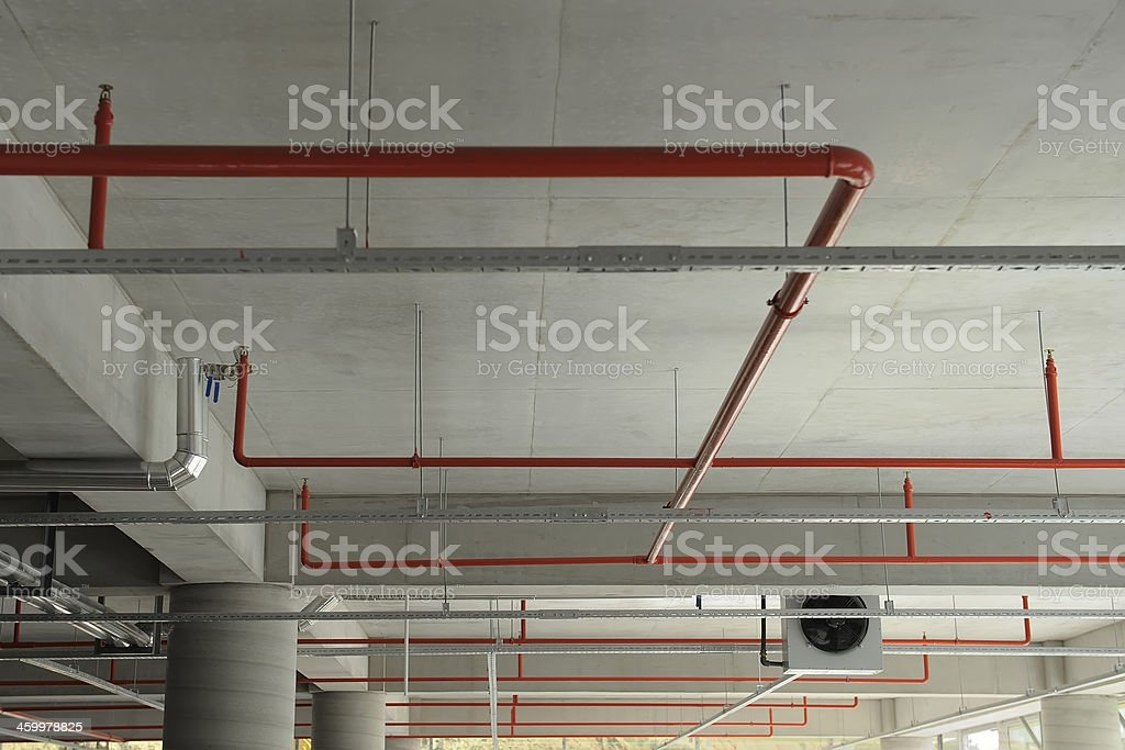 Intricate connection of fire security and sprinkler stock photo