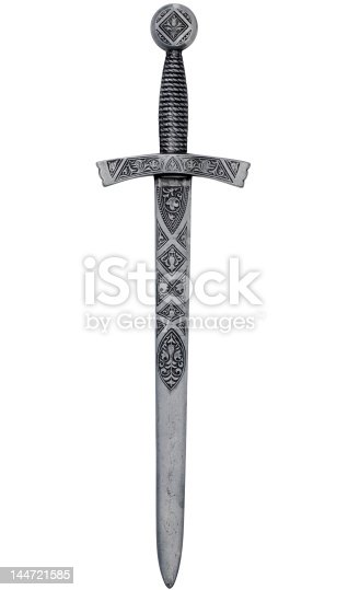 A highly detailed medieval dagger isolated on white with clipping path.