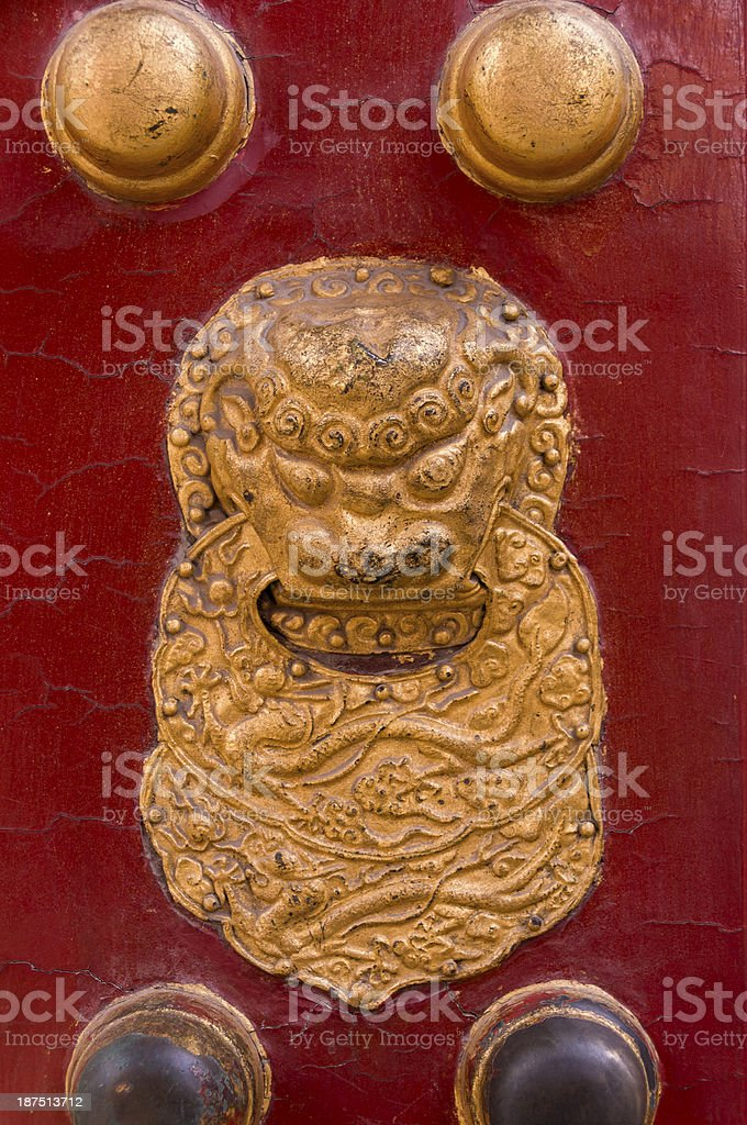 Intricate door detail at the Imperial Palace Forbidden City Beijing royalty-free stock photo