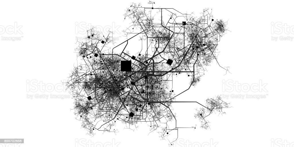 Intricate Fictional City Map stock photo