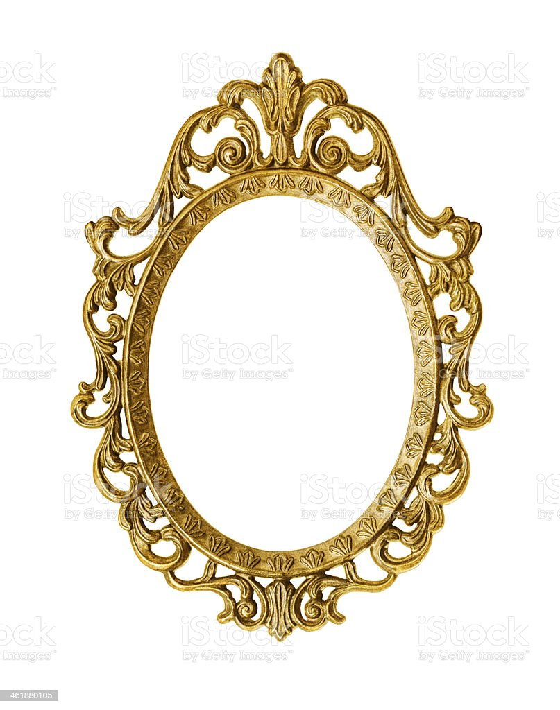 Intricate golden antique frame on white background  stock photo