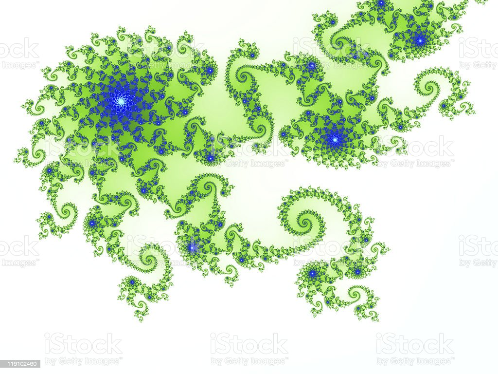 Intricate green-blue fractal design based on julia set royalty-free stock photo
