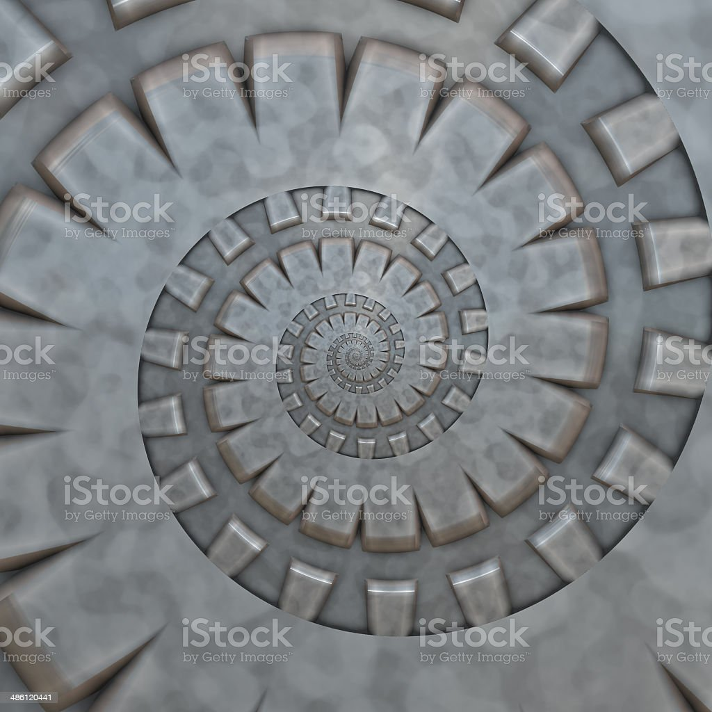 Intricate metallic blue abstract spiral / cog fractal. stock photo