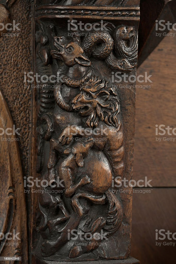 Intricate unicorn wood carving royalty-free stock photo