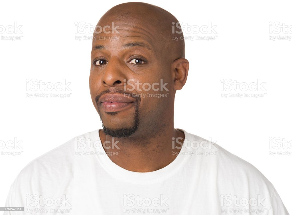 Intrigued Man Raises Eyebrows royalty-free stock photo