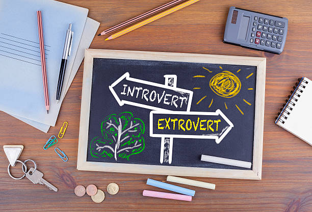 Introvert - Extrovert signpost drawn on a blackboard stock photo