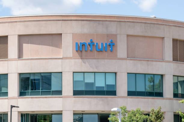 Intuit Inc. corporation office building in Mississauga, Ontario, Canada. stock photo