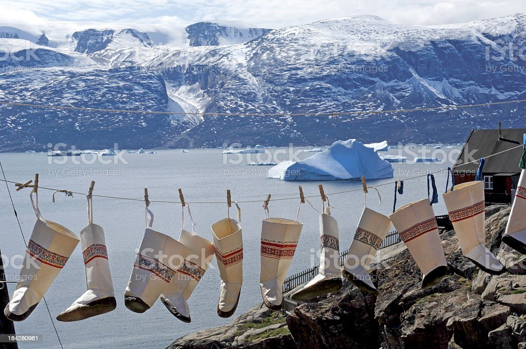 Inuit boots stock photo