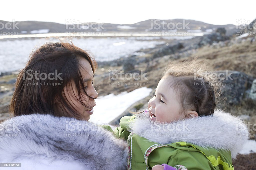 Inuit Mother and Daughter, Baffin Island, Nunavut, Canada. stock photo