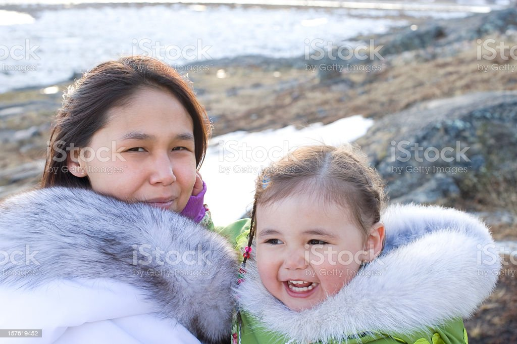 Inuit mother and Daughter on baffin Island, Nunavut, Canada. royalty-free stock photo
