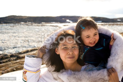 istock Inuit Mother and Daughter Traditional Dress Baffin Island Nunavut 157618857
