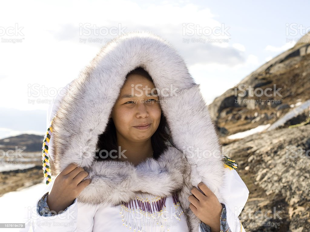 Inuit Woman on the Tundra. stock photo