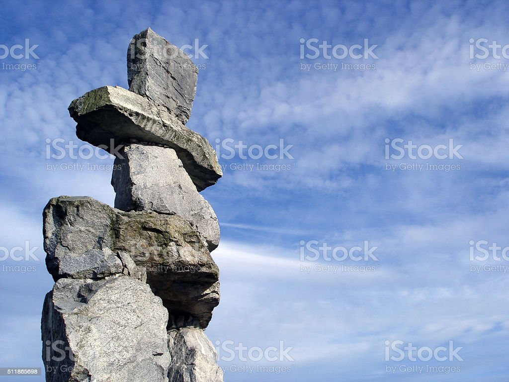 Inukshuk a traditional native sculpture in Vancouver. stock photo
