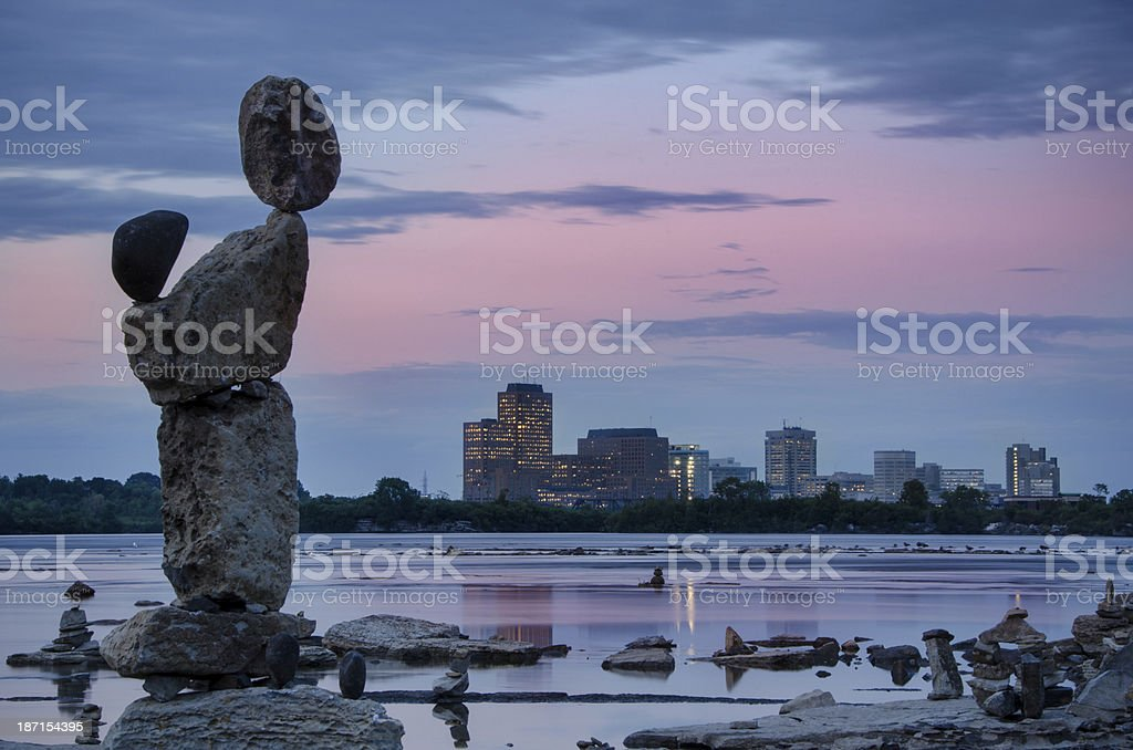 Inukshuk at Sundown stock photo